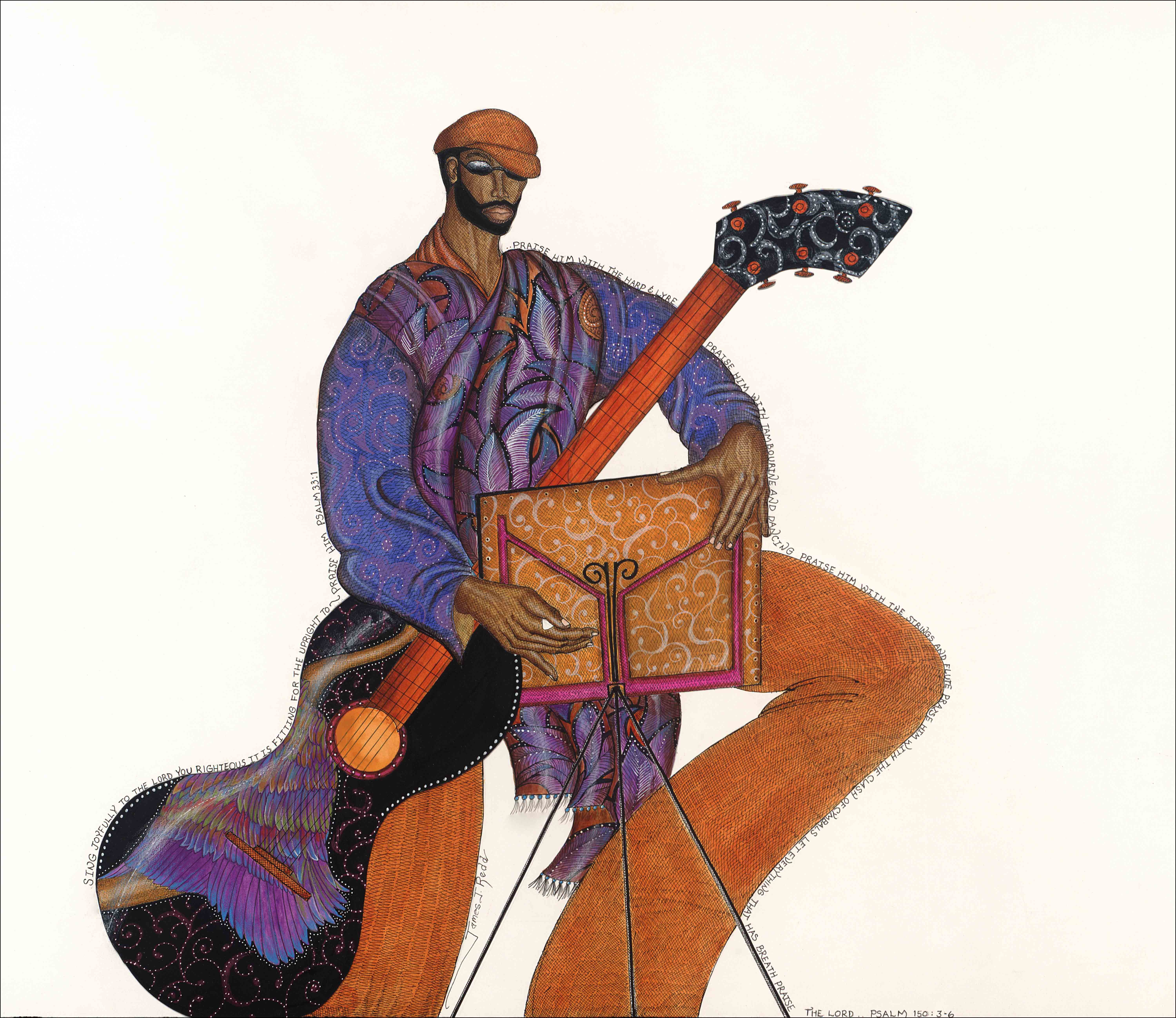 psalmist, man, jazz, musician, guitar, art, paisley
