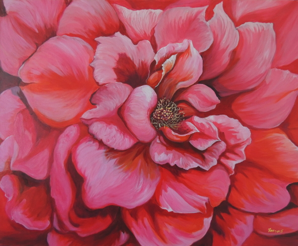 Painting of a Rose bloom large format acrylic on canvas abstract