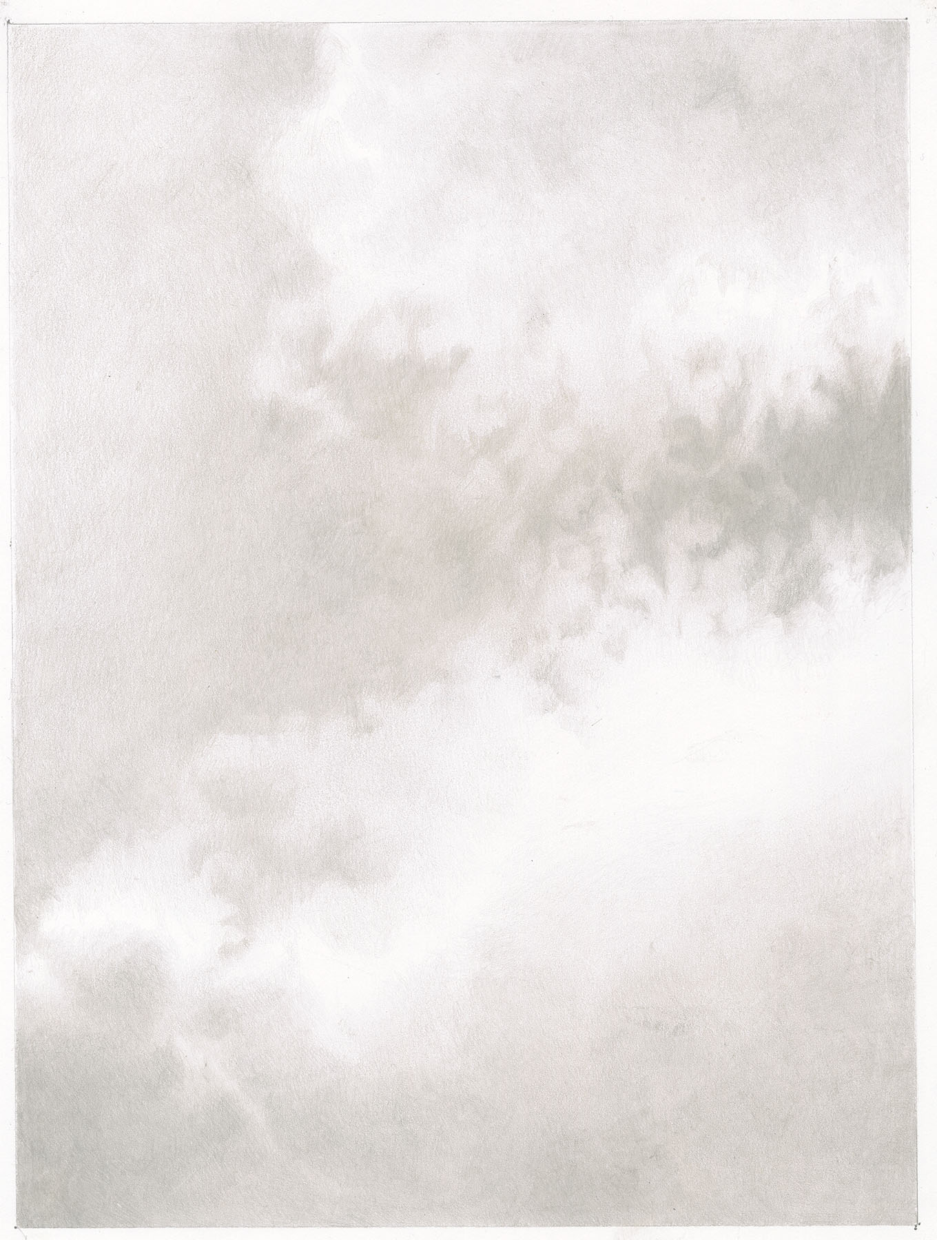 """Separation"""" a Silverpoint drawing of clouds separating"