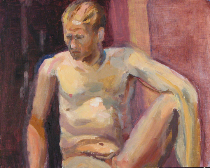 Seated nude male partial figure