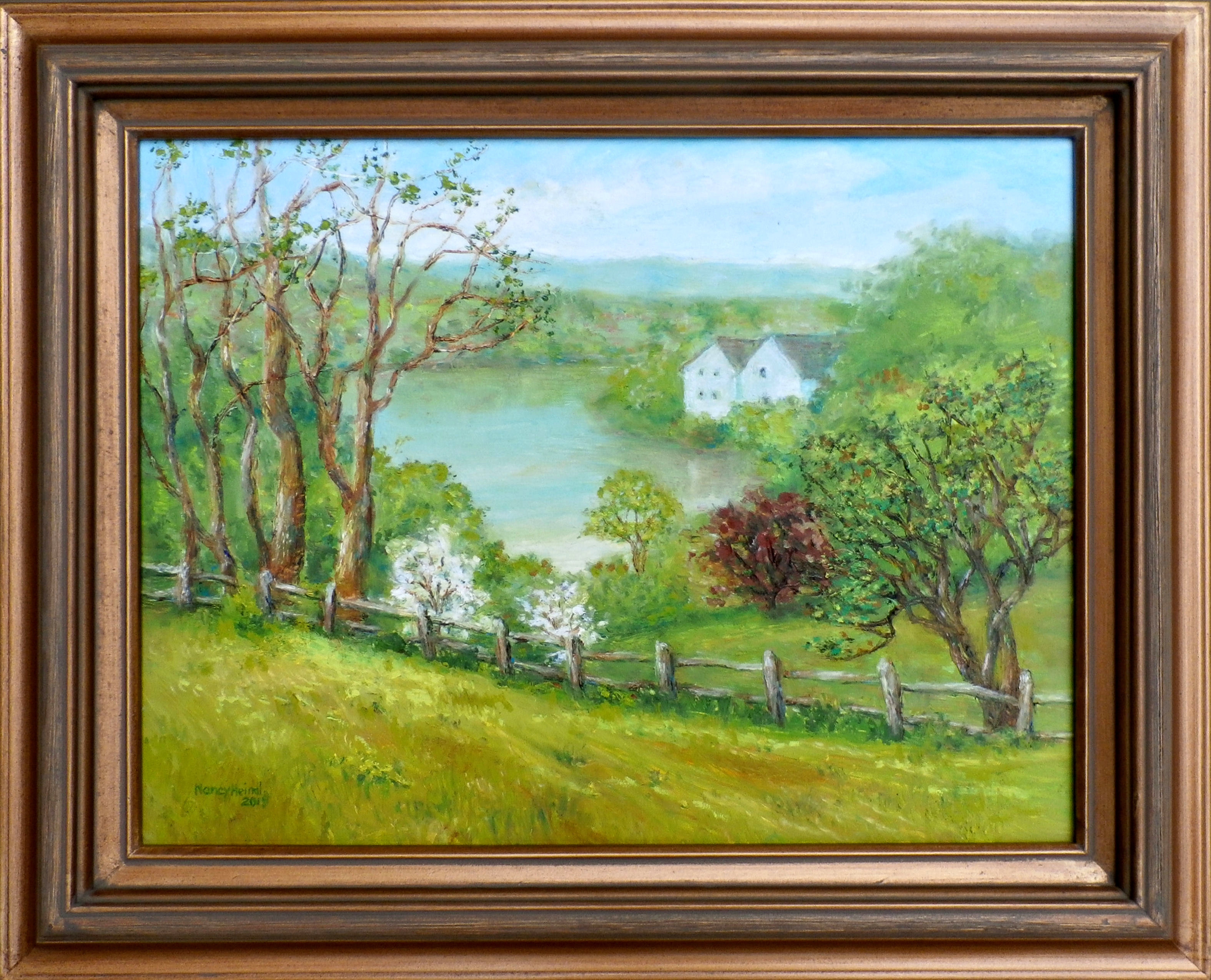 spring view of lake linganore 12x16 oil sticks.jpg