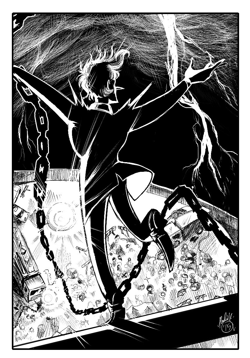 A black and white digital illustration of a man balanced on a beam high in the air as a lightning storm roars around him.