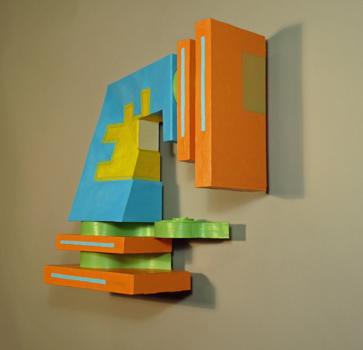 study of shapes and colors, geometric abstration, wall hung sculpture