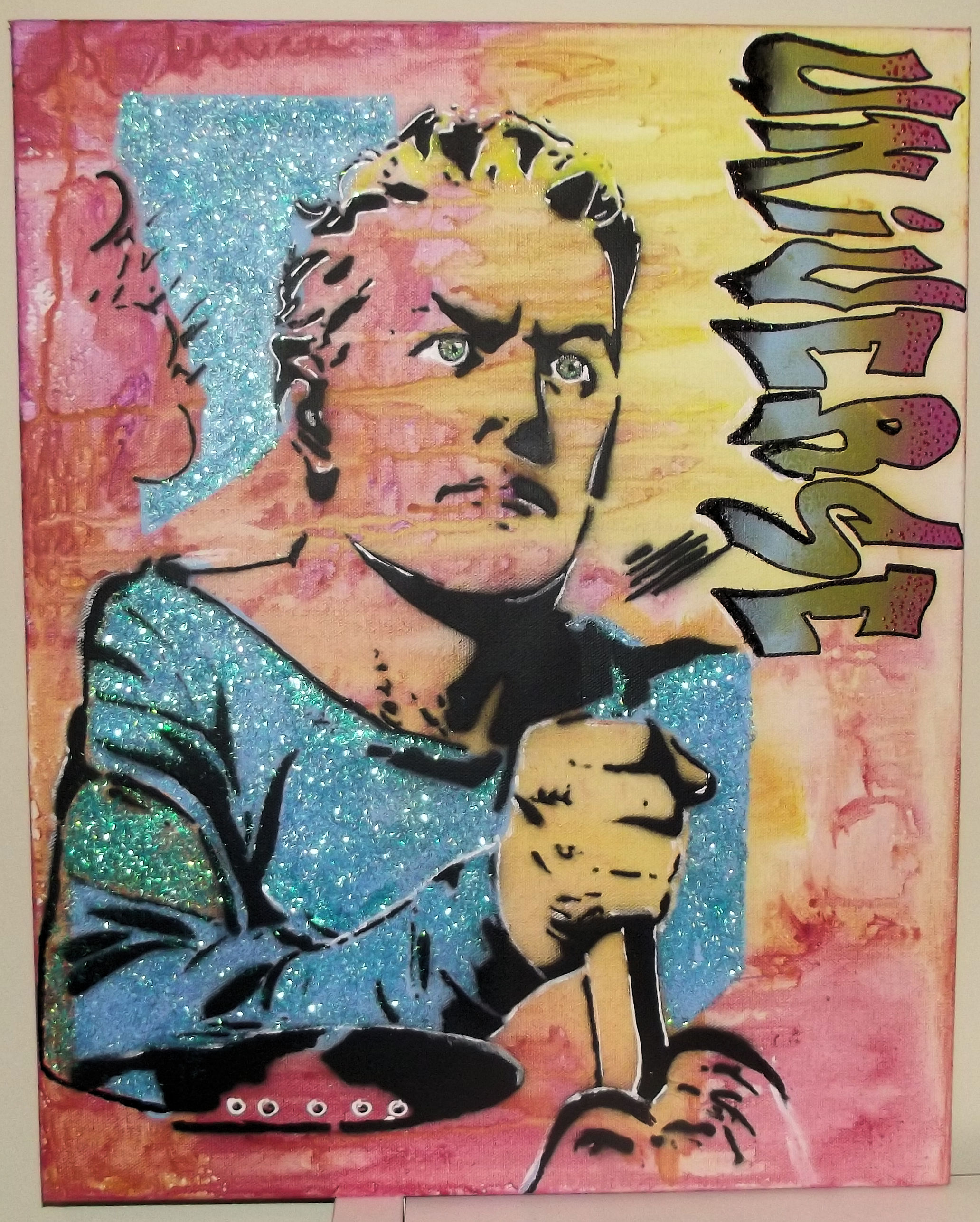 King of Universe Glitter Original Pop Graffiti Art