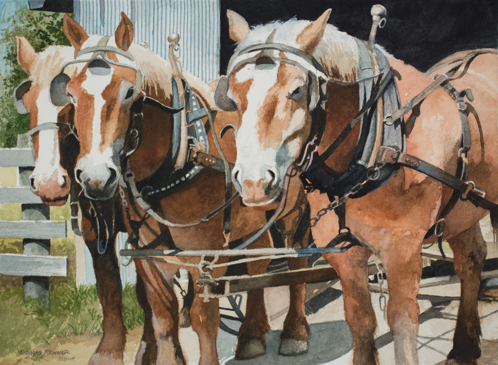 painting of work horses