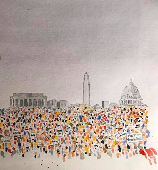 Painting of women's march on DC the day after inauguration