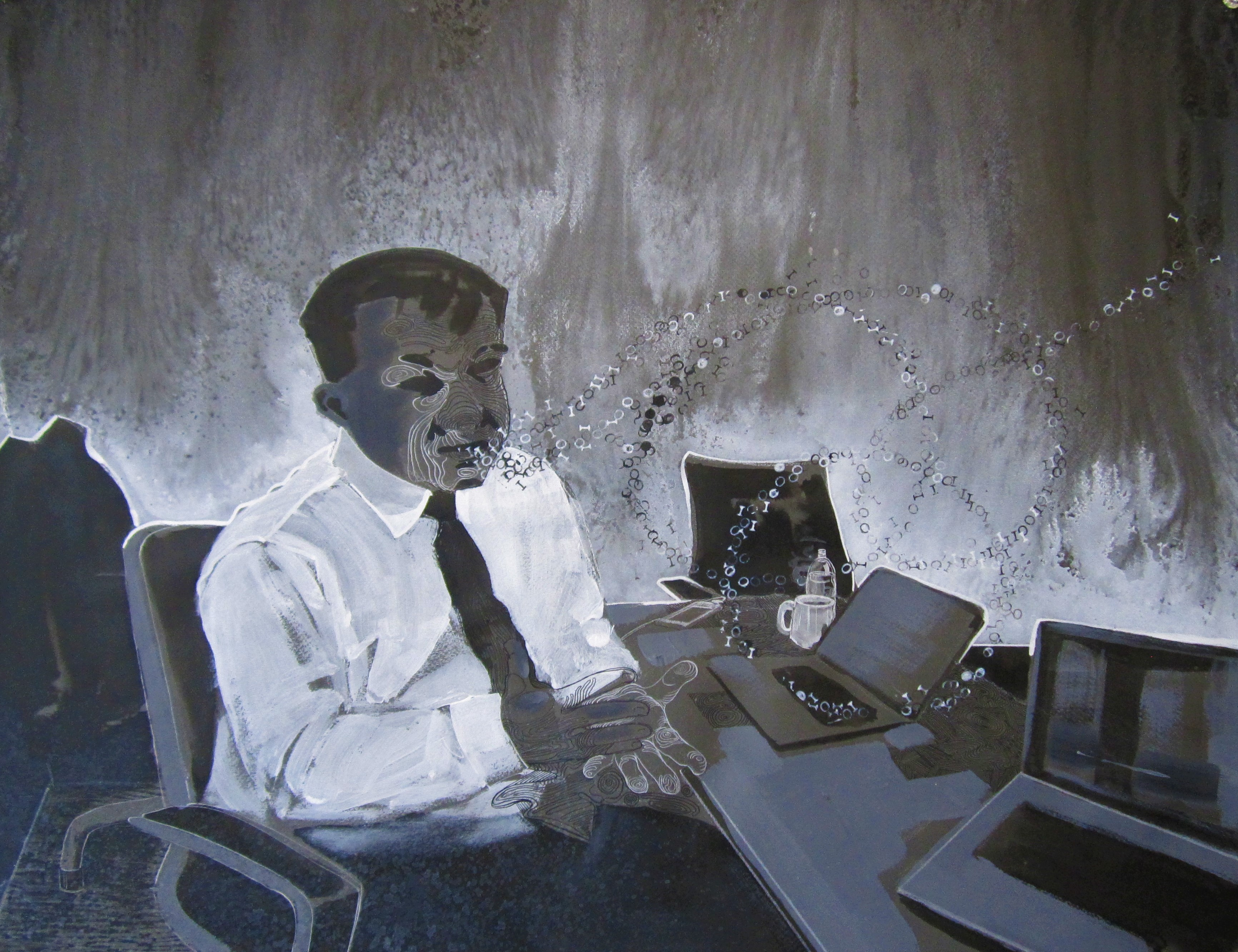 man at a desk with work devices surrounded by a cloud of 1s and 0s